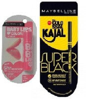 Maybelline New York Colossal Kajal Super Black & Baby Lips Pink Lolita (Set Of)