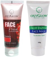 Oxyglow Strawberry Face Wash & Fruit Enzyme Face Mask (Set Of 2)