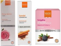 VLCC Sandal Clesing Milk-Rose Water Toner & Snigdha Skin Whitening Day Cream-Spf 25 Combo (Set Of 3)
