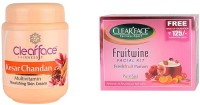 Clear Face Kesar Chandan Multivitamin Nourishing Skin Cream With Fruit Wine Facial Kit(Free Make Up Foundation Inside The Pack (Set Of 2)