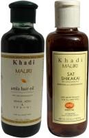 KHADI MAURI Amla Hair Oil & Shikakai Sat Shampoo Combo Pack Of 2 Herbal Ayurvedic Natural 210 Ml Each (Set Of 2)