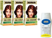 Indus Valley Organically Natural Gel Burgundy 3.6 Hair Color- Triple Pack With CP Shampoo Combo Kit (Set Of 4)