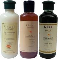 Khadi Mauri Herbal Hair Conditioner Amla Hair Oil & Henna Shampoo Pack Of 3 Ayurvedic Natural 210 Ml Each (Set Of 3)