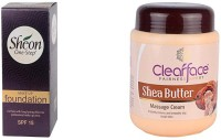Clear Face Make Up Foundation With Spf 15 & Shea Butter Massage Cream (Set Of 2)