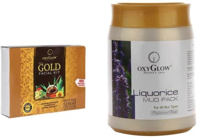 Oxyglow Combos and Kits Oxyglow Liquorice Mud Pack & Gold Facial Kit