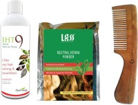 Lass Naturals Iht9 Hair Oil With Herbal Henna Powder+Neem Wood Hair Comb LC-1 (Set Of 3)