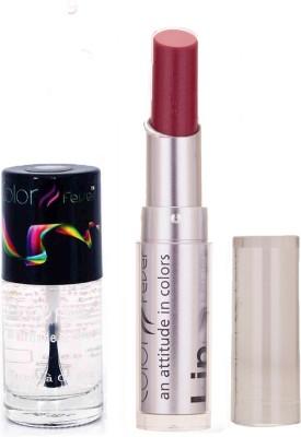 Color Fever 934 Topcoat Nail Polish+Purple Lipstick (Set Of 2)