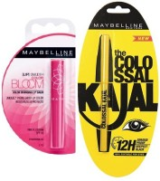 Maybelline The Colossal Kajal 0.35 G(Black) & Bloom Color Changing Lip Balm-Pink Blossom Strawberry(1.7 G) (Set Of)