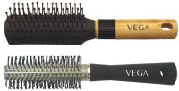 Vega Basic Mini - Flat Hair Brush R5-Fb With Basic Round Hair Brush R10-Rb (Set Of 2)