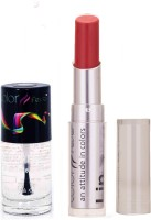 Color Fever 939 Topcoat Nail Polish+Brick Red Lipstick (Set Of 2)