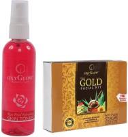 Oxyglow Rose Petal Refershing Skin Toner & Gold Facial Kit (Set Of 2)