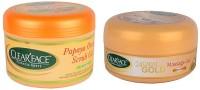 Clear Face Papaya Orange Scrub Gel With 24 Carat Gold Massage Gel (Set Of 2)