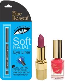 Blue Heaven Lipstick P 074, Nail Paint 1000 & Kajal Liner Combo