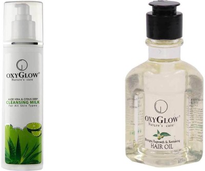 Oxyglow Combos and Kits Oxyglow Aleo Vera & Citrus Deep Cleansing Milk & Bhringaraj Regrowth & Revitalising Hair Oil