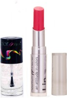 Color Fever 946 Topcoat Nail Polish+Pink Lipstick (Set Of 2)