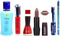 Rythmx Brown Lipstick Cherry Red Nail Polish Remover Eye Liner Sindoor Turquoise Blue Kajal Combo Kit 8897 (Set Of 6)