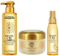 Loreal Paris Professionnel Mythic Oil Nourishing Shampoo (250 Ml), Masque (200 Ml) And Rich Hair Oil 125ml (Set Of 3)