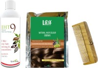 Lass Naturals Iht9 Hair Oil With Iht9 Natural Brown Hair Colour +Neem Wood Hair Comb LC-3 (Set Of 3)