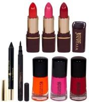 Viviana Pride Lipstick, Nail Colors, Liner & Kajal (Set Of 8)