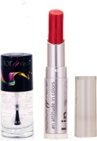 Color Fever 945 Topcoat Nail Polish+Red Lipstick (Set Of 2)