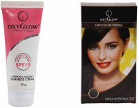 Oxyglow Saffron & Liquorice Fairness Cream & Hair Colour Cream-Brown (Set Of 2)