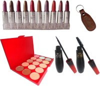 ADS Mini Lipstick (Set Of 10 - A) / Mascara / Eyeliner / Concealer / Keychain (Set Of 5)