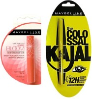 Maybelline Bloom Color Changing Lip Balm-Peach Blossom Strawberry(1.7 G) And Colossal Kajal Combo(Set Of 2) (Set Of)