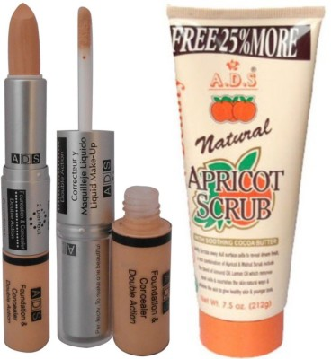 ADS Combos and Kits ADS Foundation & Concealer Double Action with Scrub