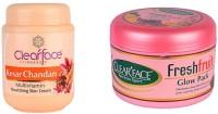Clear Face Kesar Chandan Multivitamin Nourishing Skin Cream With Fresh Fruit Glow Pack (Set Of 2)
