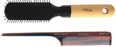 Vega Premium Flat Hair Brush E8-Fb With Handmade Tail Comb Hmc-10 (Set Of 2)