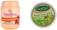 Clear Face Kesar Chandan Multivitamin Nourishing Skin Cream With Neem Tulsi Face Pack (Enriched With Aloevera) (Set Of 2)