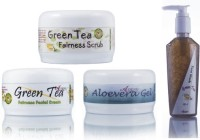 Adidev Herbals Skin Care Nourishing And Revitalising Green Tea Fairness Pack (Set Of 4)