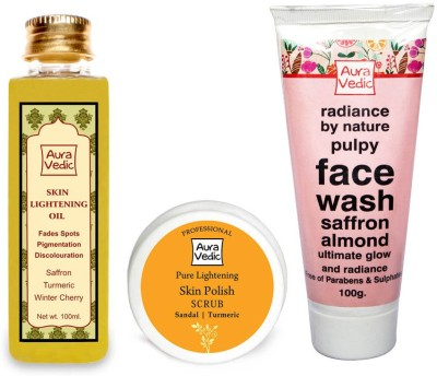 Auravedic Skin Lightening Combo Oil+mask+face Wash (Set Of 3)