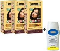 Indus Valley 100% Organic Botanical Dark Brown Triple Pack Hair Color With CP Shampoo Combo Set (Set Of 4)