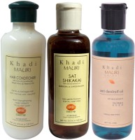 Khadi Mauri Herbal Hair Conditioner - Shikakai Sat Shampoo & Anti Dandruff Oil Combo Pack Of 3 Ayurvedic Natural 210 Ml Each (Set Of 3)