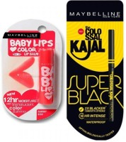 Maybelline New York Super Black Colossal Kajal (0.35) & Babylips Cherry Kiss Lipbalm (4g) (Set Of)