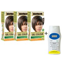 Indus Valley Organically Natural Gel Medium Brown 4.00 Hair Color- Set Of 3 With CP Shampoo Combo Pack (Set Of 4)