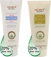 Yeturu's Aloe Face Wash Gel 70gms & Aloe Face Pack 70gms (Set Of 2)