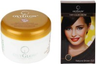 Oxyglow Saffron With Vitamin-E Gold Massage Cream & Hair Colour Cream-Brown (Set Of 2)