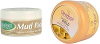 Clear Face Mud Pack Refines & Softness Skin Texture With 24 Carat Gold Dust Almond Oil Massage Gel (Set Of 2)