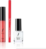 Faces Go Chic Lip Gloss Bubblegum+ Magneteyes Kajal +Splash Nail Enamel White O White (Set Of 3)