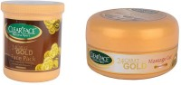 Clear Face 24 Carat Gold Face Pack With 24 Carat Gold Massage Gel (Set Of 2)