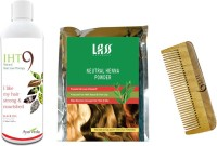 Lass Naturals Iht9 Hair Oil With Herbal Henna Powder+Neem Wood Hair Comb LC-3 (Set Of 3)