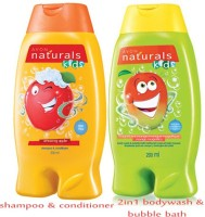 Avon Naturals Kids Shampoo & Conditioner – Amazing Apple (200 Ml) + 2-in-1 Body Wash & Bubble Bath – Magnificient Mango (200 Ml) (Set Of 2)