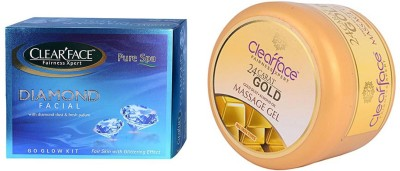 Clear Face Diamond Facial Kit With 24 Carat Gold Dust Almond Oil Massage Gel (Set Of 2)