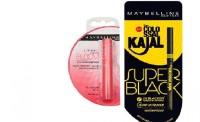 Maybelline New York Colossal Super Black Kajal & Bloom Color Changing Lip Balm-Peach Blossom Strawberry (Set Of)