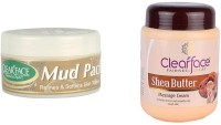 Clear Face Mud Pack Refines & Softness Skin Texture With Shea Butter Massage Cream (Set Of 2)