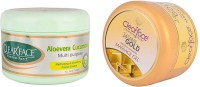 Clear Face Aloevera Cucumber Multi Purpose Facial Cream With 24 Carat Gold Dust Almond Oil Massage Gel (Set Of 2)