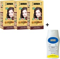 Indus Valley 100% Organic Botanical Light Brown- Triple Pack- Natural Hair Color- With CP Shampoo Combo Set (Set Of 4)