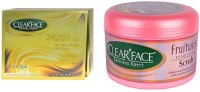 Clear Face 24 Carat Gold Facial Kit & Fruit Wine Exfloiting Scrub (Set Of 2)